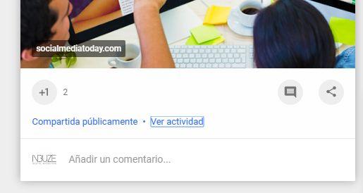 actividad google plus